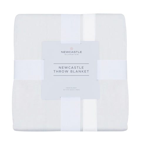 Pure White Cotton Newcastle Throw Blanket