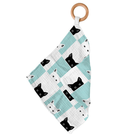 Peek-A-Boo Cats Bamboo Blankie Teether