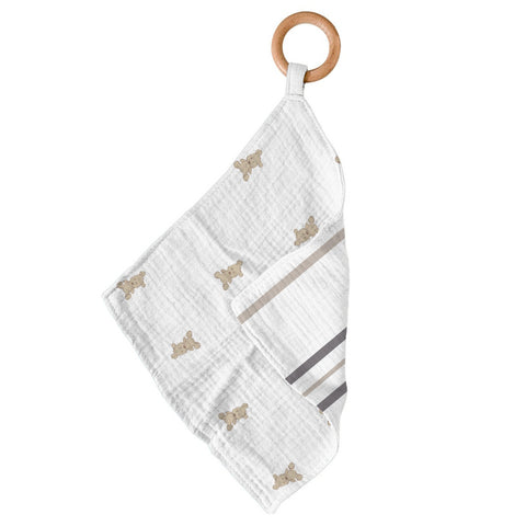 Teddy Bear & Grey Stripe Newcastle Teether