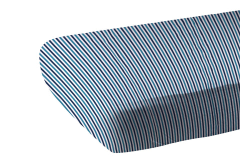 Blue and White Stripe Bamboo Crib Sheet