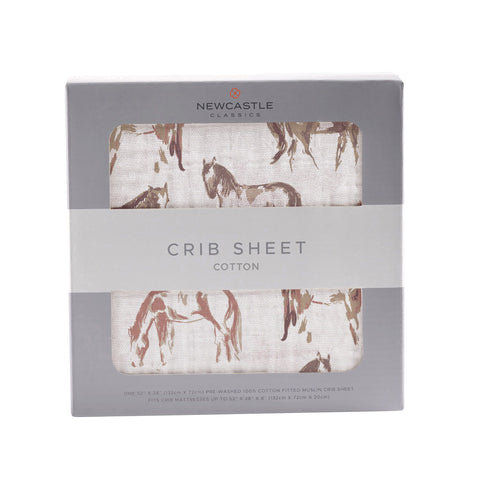 Wild Horses Cotton Muslin Crib Sheet