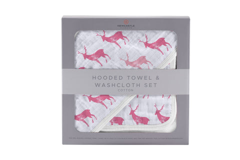 Pink Deer Cotton Hooded Towel and Washcloth Set