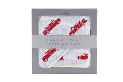 Fire Truck Bamboo Hooded Towel and Washcloth Set