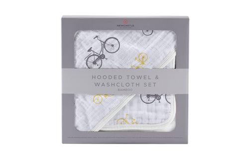 Vintage Bicycle Bamboo Muslin Hooded Towel and Washcloth Set