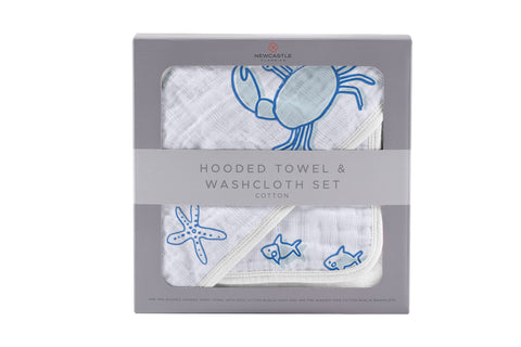 Ocean Friends Cotton Hooded Towel and Washcloth Set
