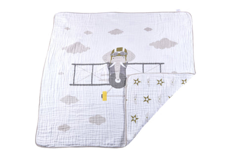 Flying Elephant Cotton Muslin Newcastle Blanket