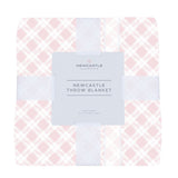Primrose Pink Plaid Cotton Muslin Throw Blanket