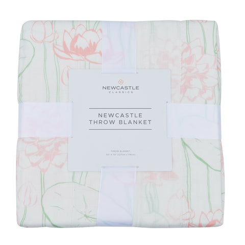 Water Lily Bamboo Newcastle Throw Blanket