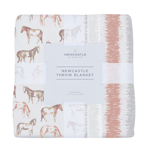 Wild Horses and Western Stripe Cotton Muslin Throw Blanket