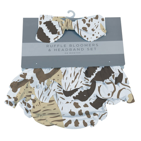 Animal Print Ruffle Bamboo Bloomer Headband Set