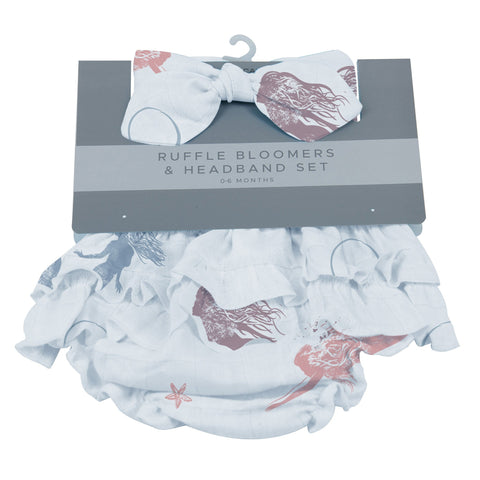 Mermaids Ruffle Bamboo Bloomer Headband Set