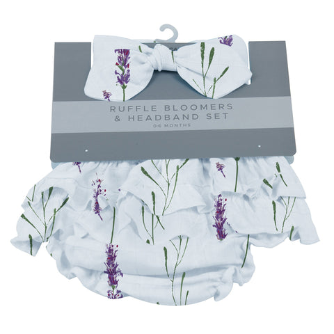 Lavender Ruffle Bamboo Bloomer Headband Set