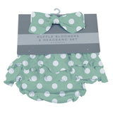 Jade Polka Dot Ruffle Bloomers and Headband Set