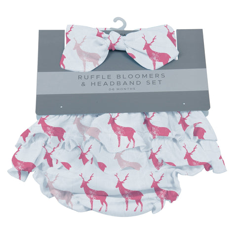 Pink Deer Ruffle Bloomers and Headband Set