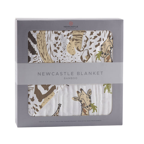 Hungry Giraffe and Animal Print Bamboo Muslin Newcastle Blanket