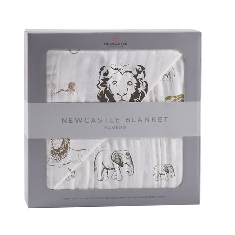 Hear Me Roar Lion and Rhinos and Elephants Bamboo Newcastle Blanket