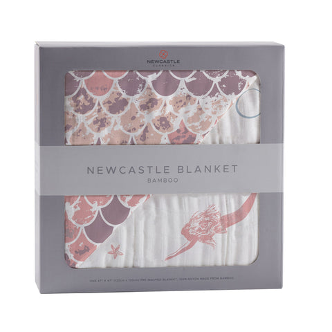 Mermaids and Scales Bamboo Muslin Newcastle Blanket