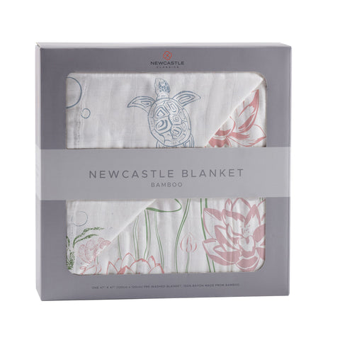 Turtles and Water Lily Bamboo Muslin Newcastle Blanket