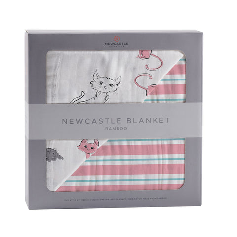 Playful Kitty and Candy Stripe Bamboo Muslin Newcastle Blanket