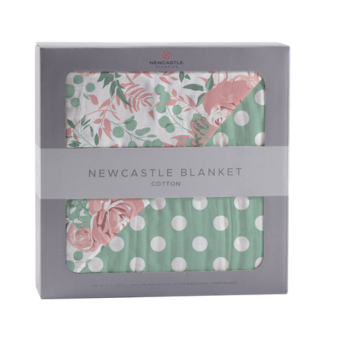 Desert Rose & Jade Polka Dot Cotton Muslin Blanket