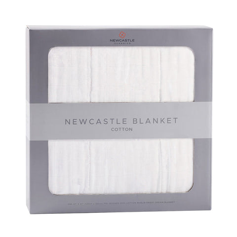 Pure White Cotton Newcastle Blanket