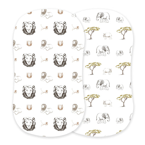 Hear Me Roar Lion and Rhinos and Elephants Bassinet Sheets