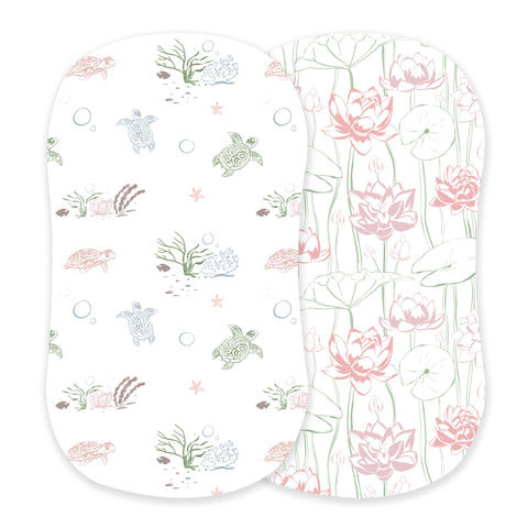 Turtles and Water Lily Bamboo Bassinet Sheets