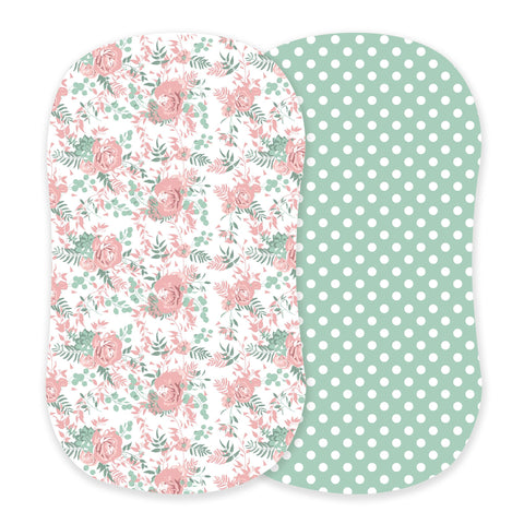 Desert Rose and Jade Polka Dot Cotton Bassinet Sheets
