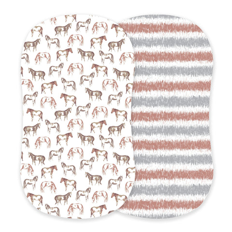Wild Horses and Western Stripe Bamboo Bassinet Sheets
