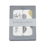 Vintage Bicycles and Hot Air Balloon Bamboo Muslin Bassinet Sheet