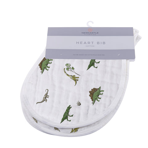 Dino Days Cotton Heart Bib 2PK