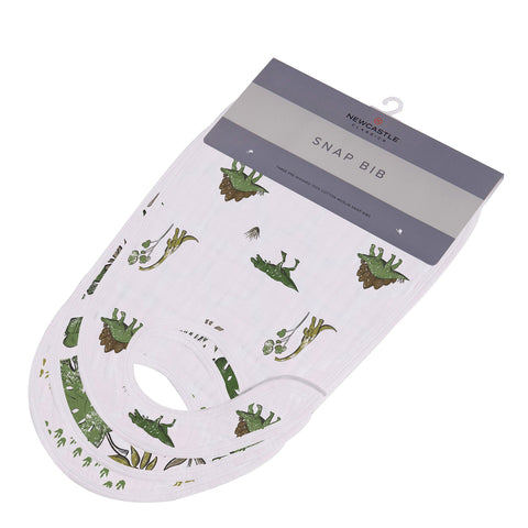 Dino Days Cotton Muslin Snap Bibs 3PK