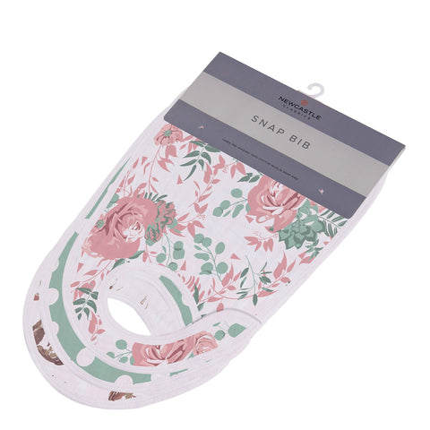 Horses and Roses Cotton Muslin Snap Bibs 3PK