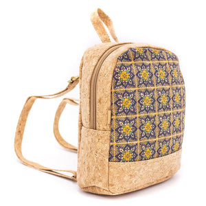 Vegan Leather Backpack Blue Yellow Flower Print
