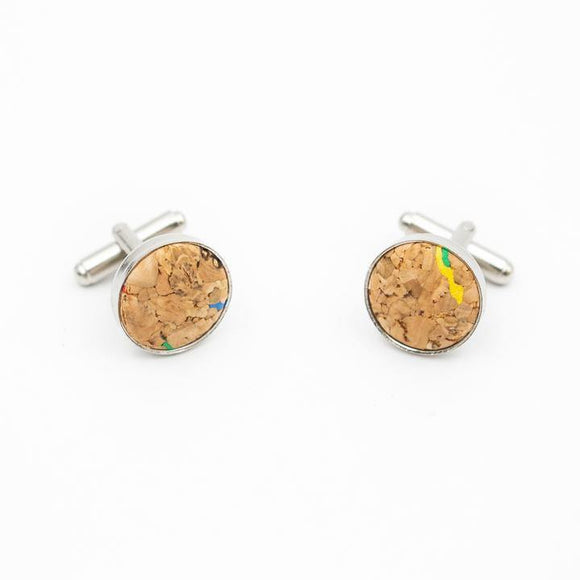 Men's Vegan Leather Cork Cufflinks Multicolour