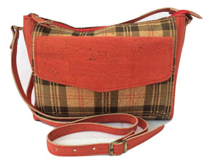 Retro Design Vegan Handbag made from cork leather in Red & Black Check print