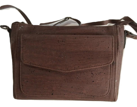 Vintage Design Vegan Handbag made from Cork Leather in Dark Brown