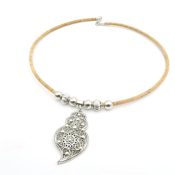Viana Heart Necklace Silver and Cork Leather