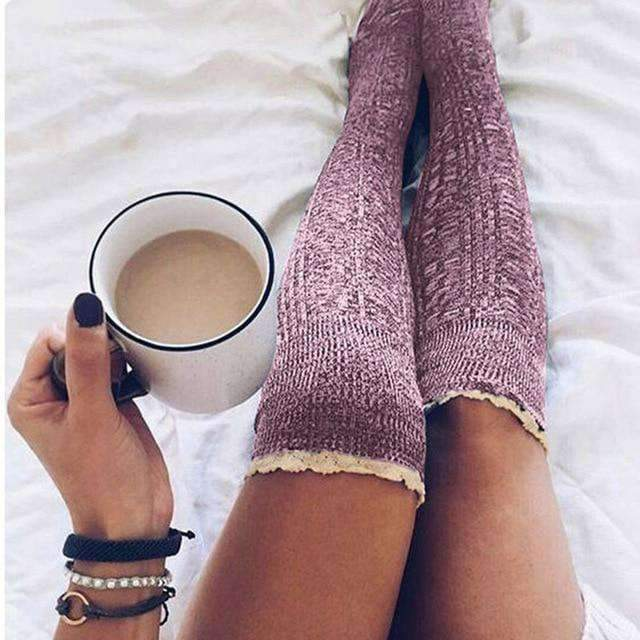 best choice new style good Fashion Ladies Knee High woman lace socks Over Knee Socks Thigh High Thick  Lovely Girl Knitting Long Stockings