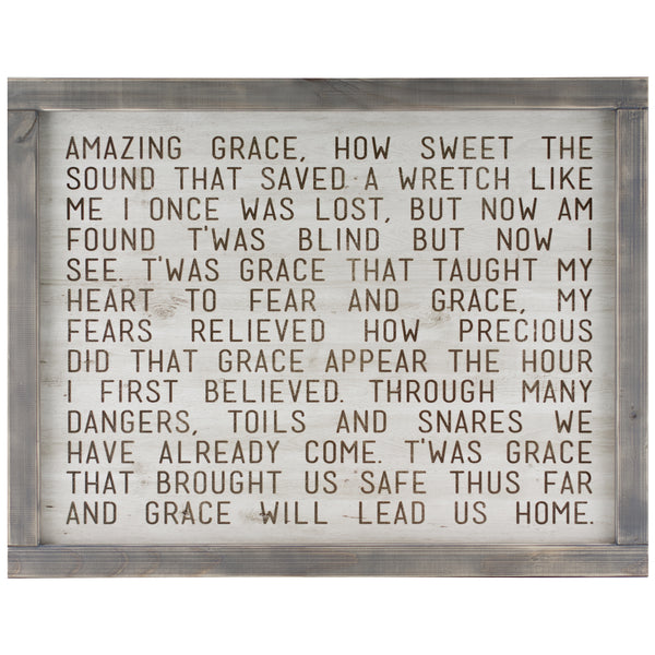 amazing grace | wood-framed sign