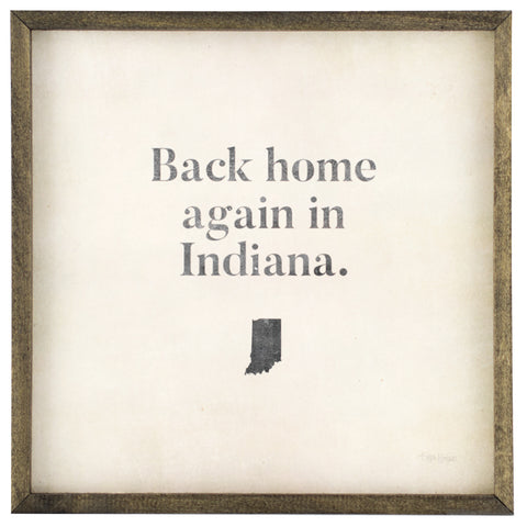 indiana home | wood-framed sign
