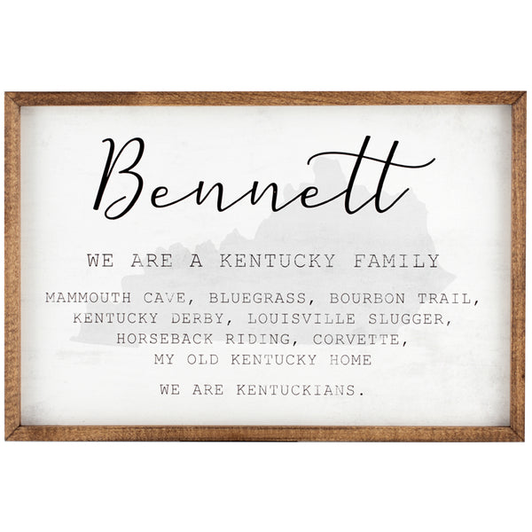 kentucky family | personalized name sign