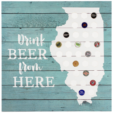 drink beer illinois | plaque for bottle caps