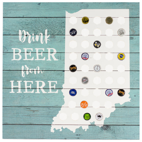 drink beer indiana | plaque for bottle caps