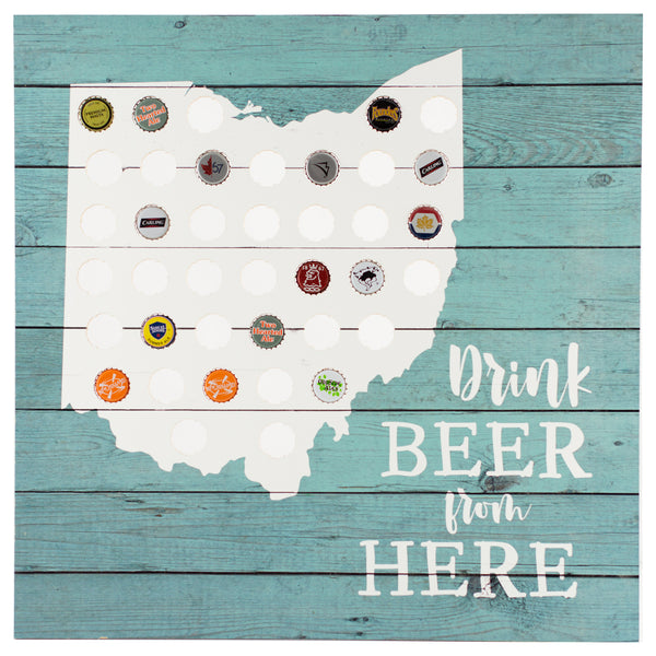 drink beer ohio | plaque for bottle caps