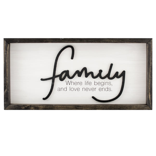 family | wood-framed box sign