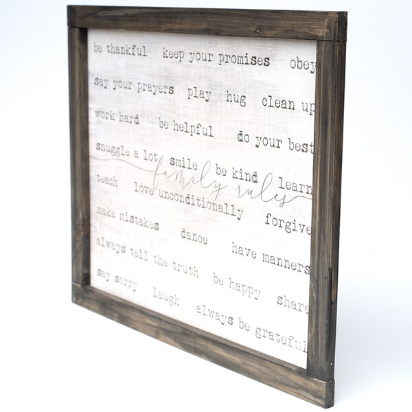 family rules | wood-framed sign