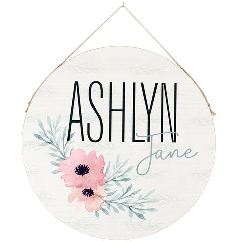 floral | personalized name plaque