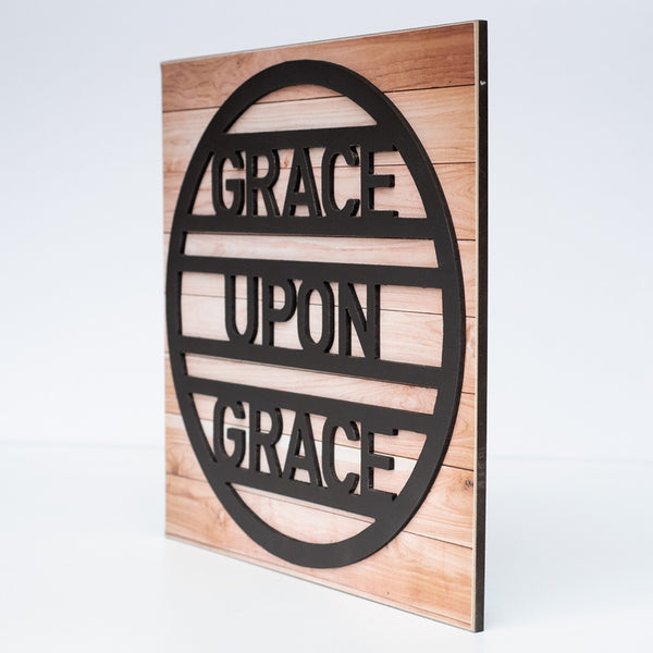 grace upon grace | wood-finish plaque