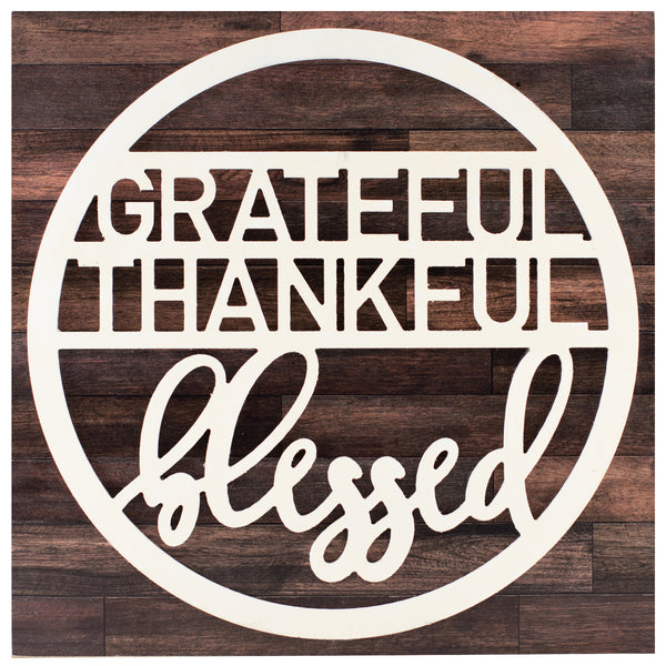 grateful thankful blessed | wood-finish plaque